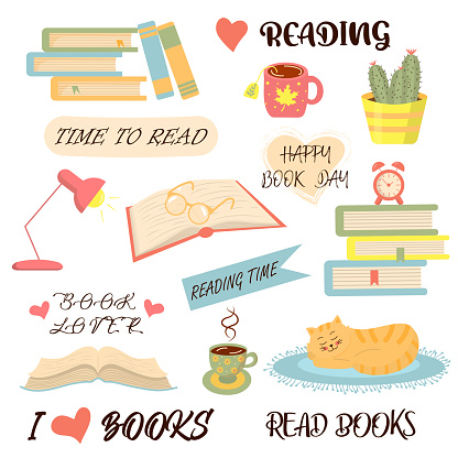 Books, reading and cozy things set.