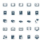 Books, reading and learning icon set