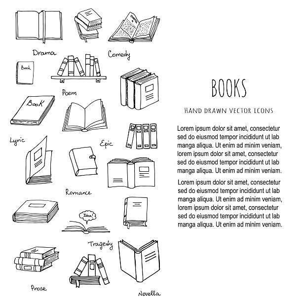 Books Reading set vector art illustration