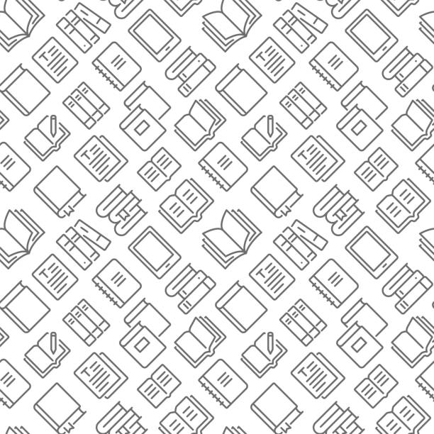 Books related seamless pattern with outline icons Books related seamless pattern with outline icons book patterns stock illustrations