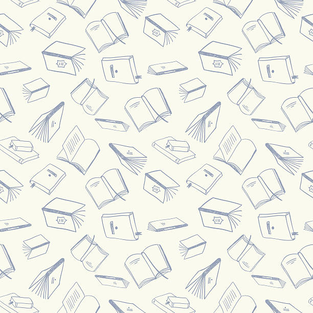 books seamless pattern - book backgrounds stock illustrations