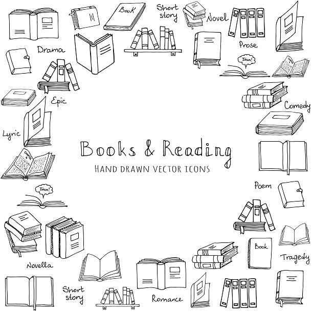 Books set Hand drawn doodle Books and Reading set Vector illustration Sketchy book icons reading books elements Set of books Vector symbols of reading and learning Book club illustration, Education logo element book drawings stock illustrations
