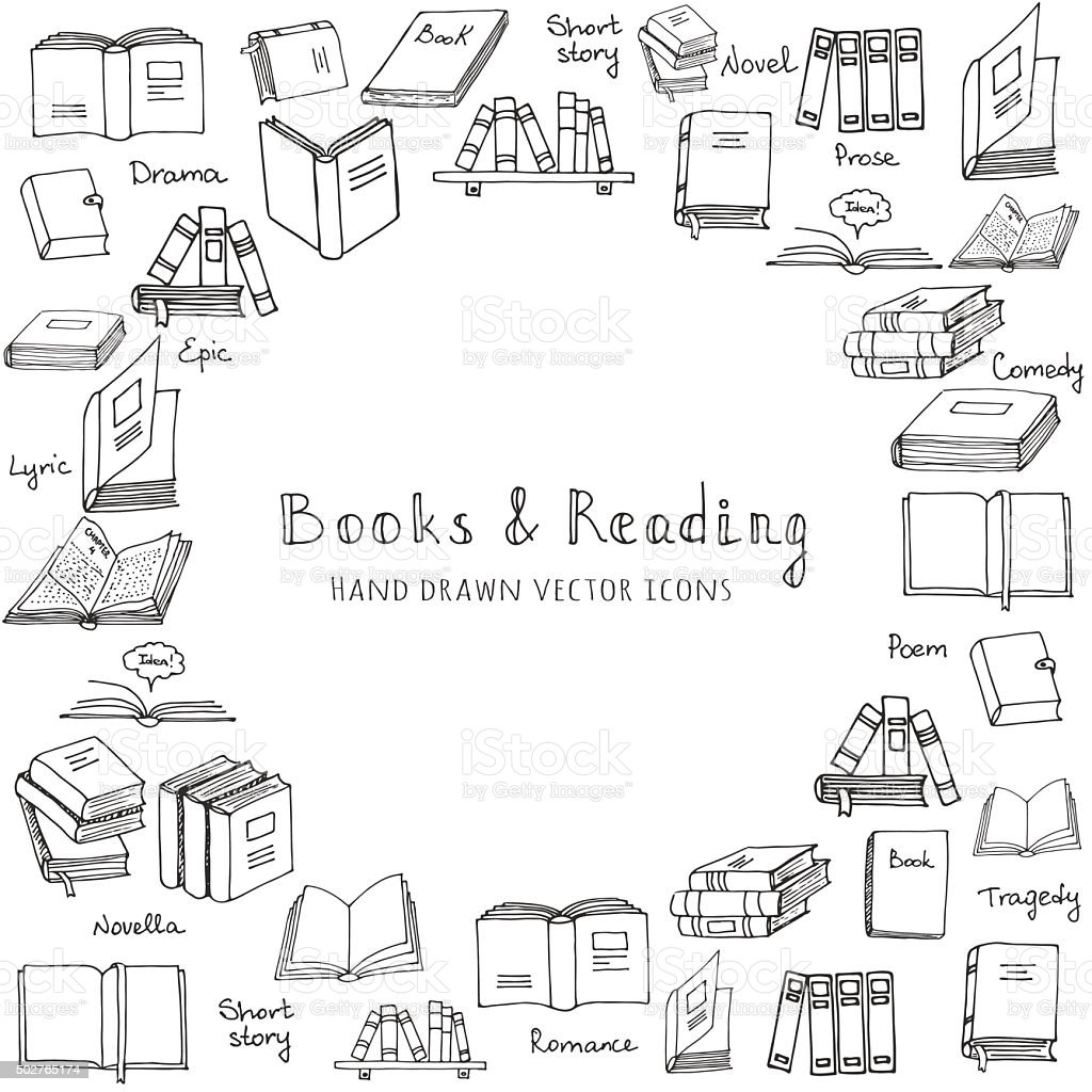 Books set vector art illustration