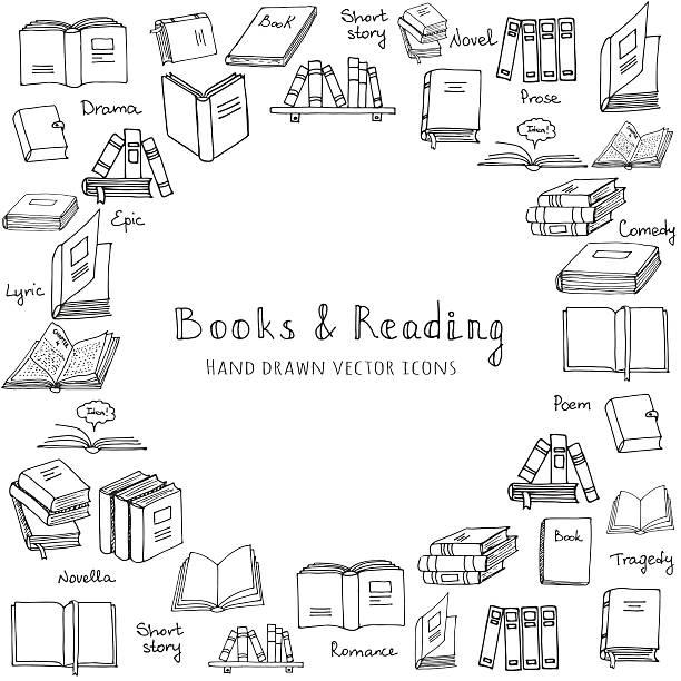 Books set vector art illustration