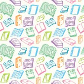 Books sketch seamless colorful pattern in doodle style, vector illustration