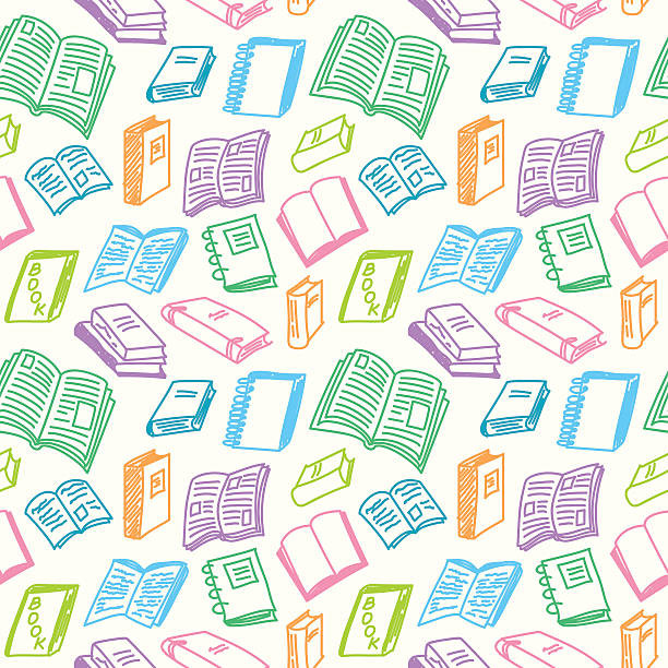 books sketch seamless - book backgrounds stock illustrations
