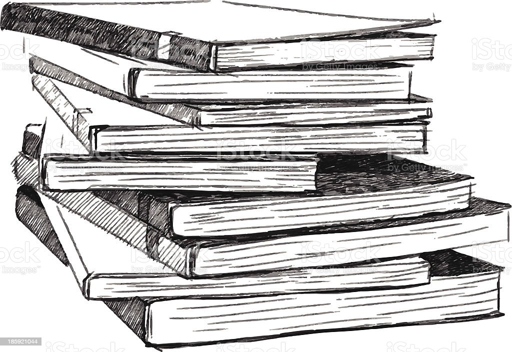 Books sketch vector art illustration