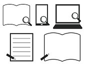 istock Books, smartphones, computers, magnifying glass, pencil frames, simple/ illustration material (vector illustration) 1340246554