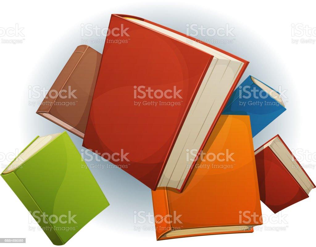 Books Stack Flying vector art illustration