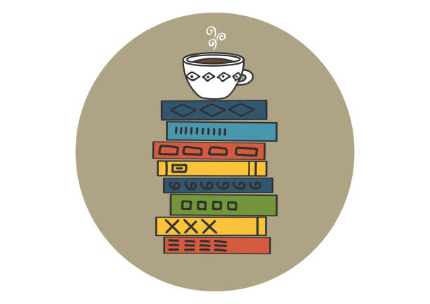 books stack with white cup of hot tea - stacked tea cups stock illustrations, clip art, cartoons, & icons