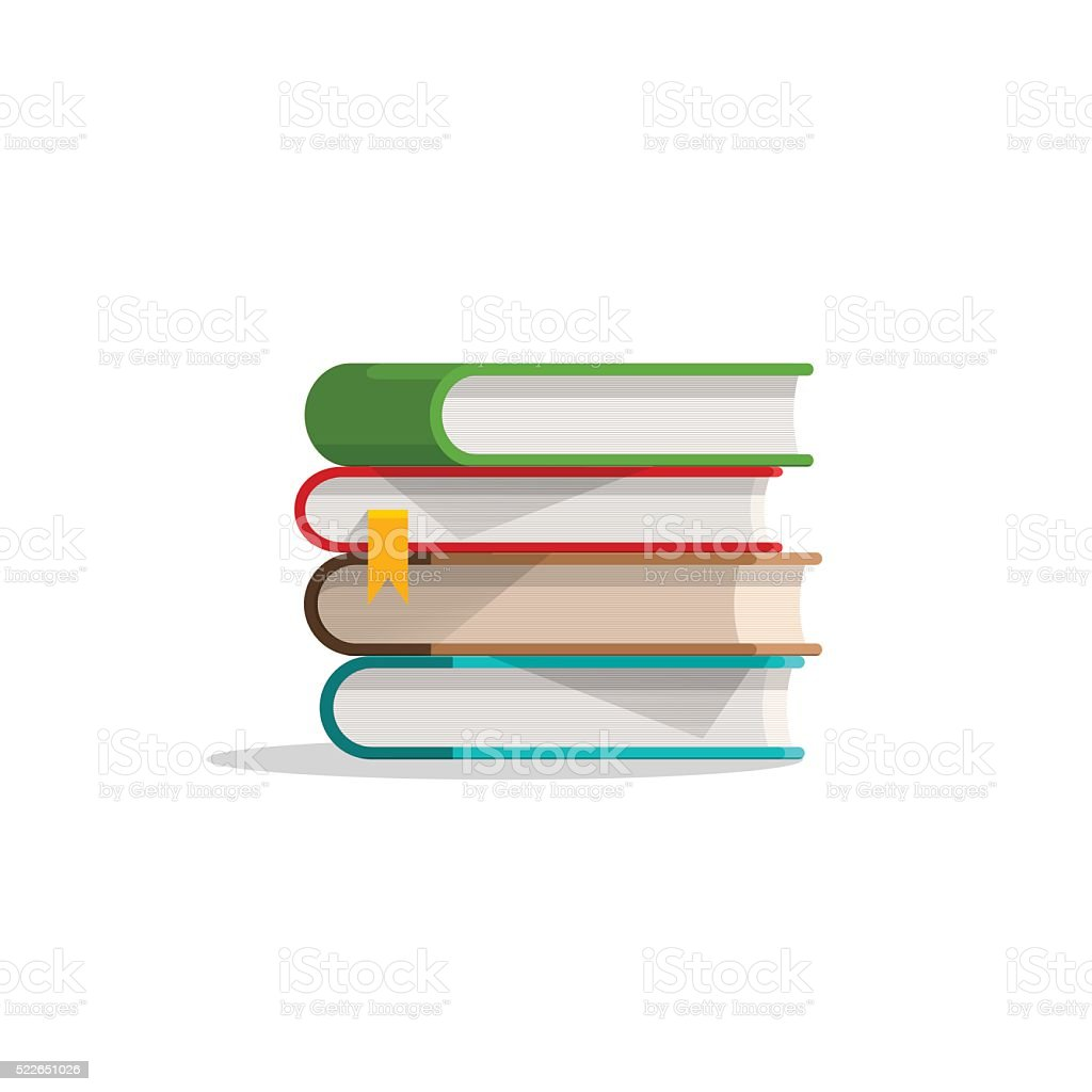 Books stacked pile and bookmark, textbook stack with shadow, symbol vector art illustration