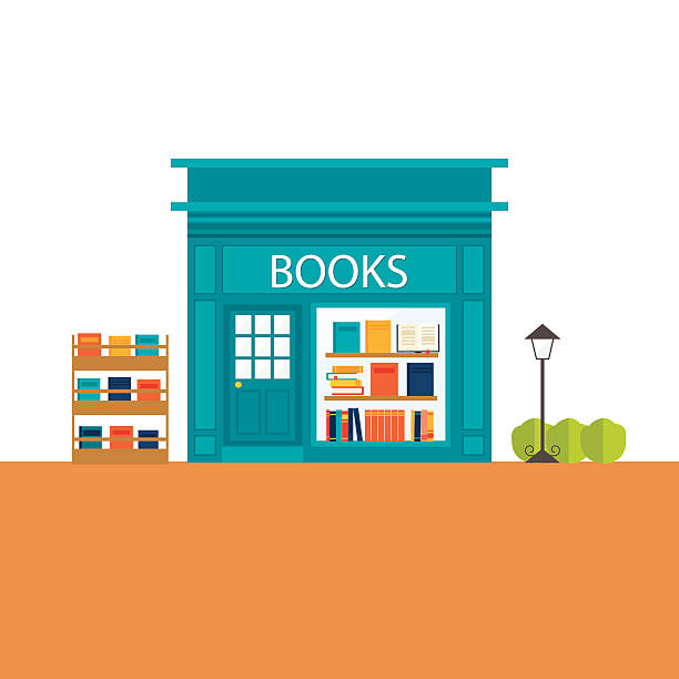 Books store building with books icons set vector art illustration
