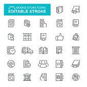 Books Store Icons Editable Stroke