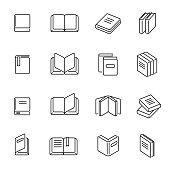 Books thin line icons vector