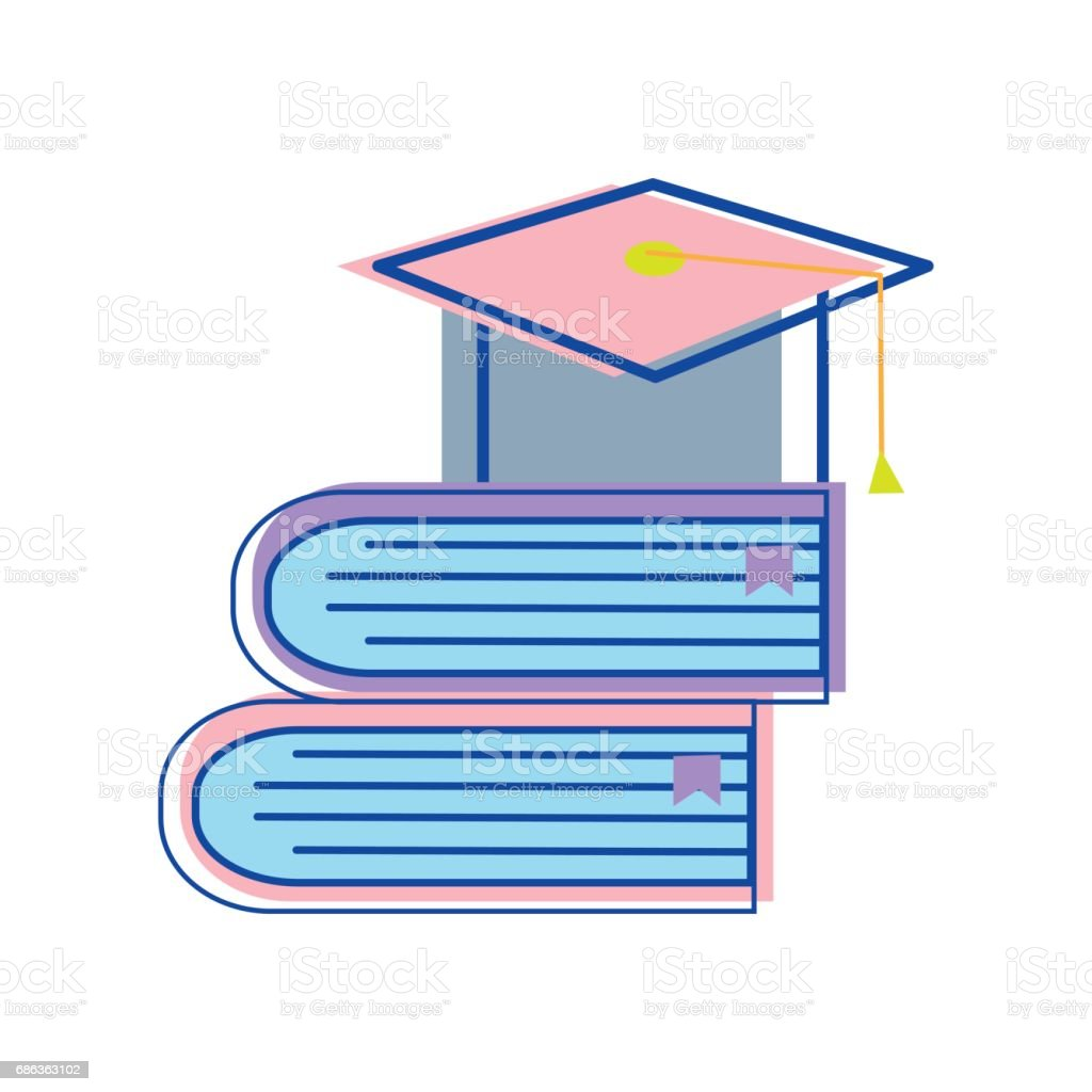 books tools with graduation cap icon vector art illustration