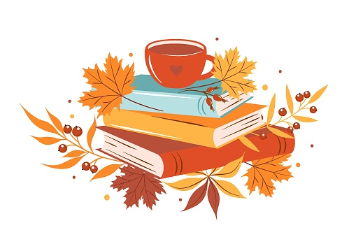 Books, cup coffee or tea with autumn bright leaves on white background.  Design for greeting card, Sale or promotional poster. Vector illustration