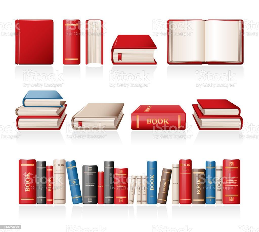 Books vector art illustration