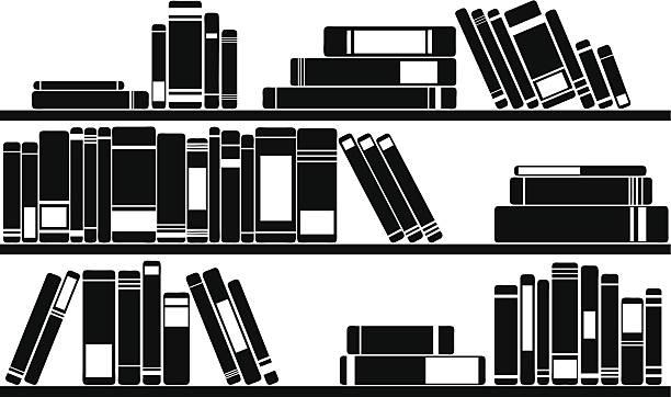 books set of books on shelves book silhouettes stock illustrations
