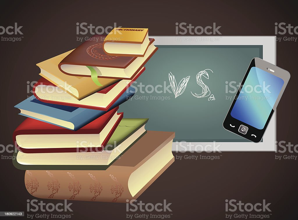books vs. smart phone royalty-free books vs smart phone stock vector art & more images of apple - fruit