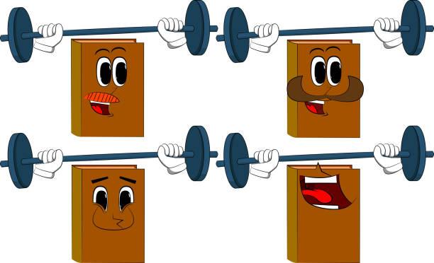 bildbanksillustrationer, clip art samt tecknat material och ikoner med böcker tyngdlyftare lyfta skivstång. - gym skratt