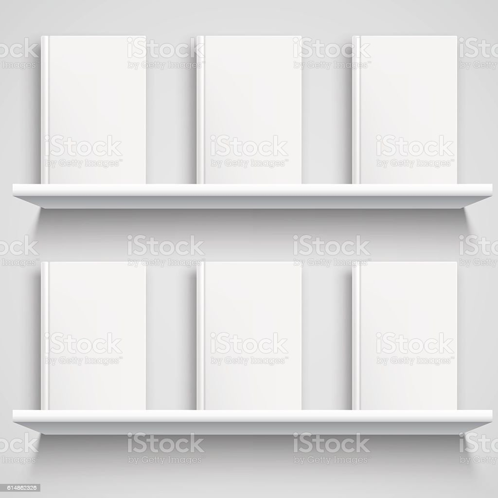 Bookshelf and Books with Blank Covers vector art illustration