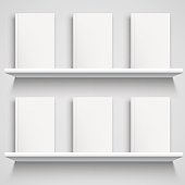 Bookshelf and Books with Blank Covers