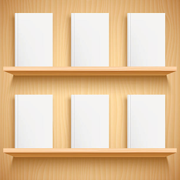 bookshelf and books with blank covers - bibliothekwand stock-grafiken, -clipart, -cartoons und -symbole