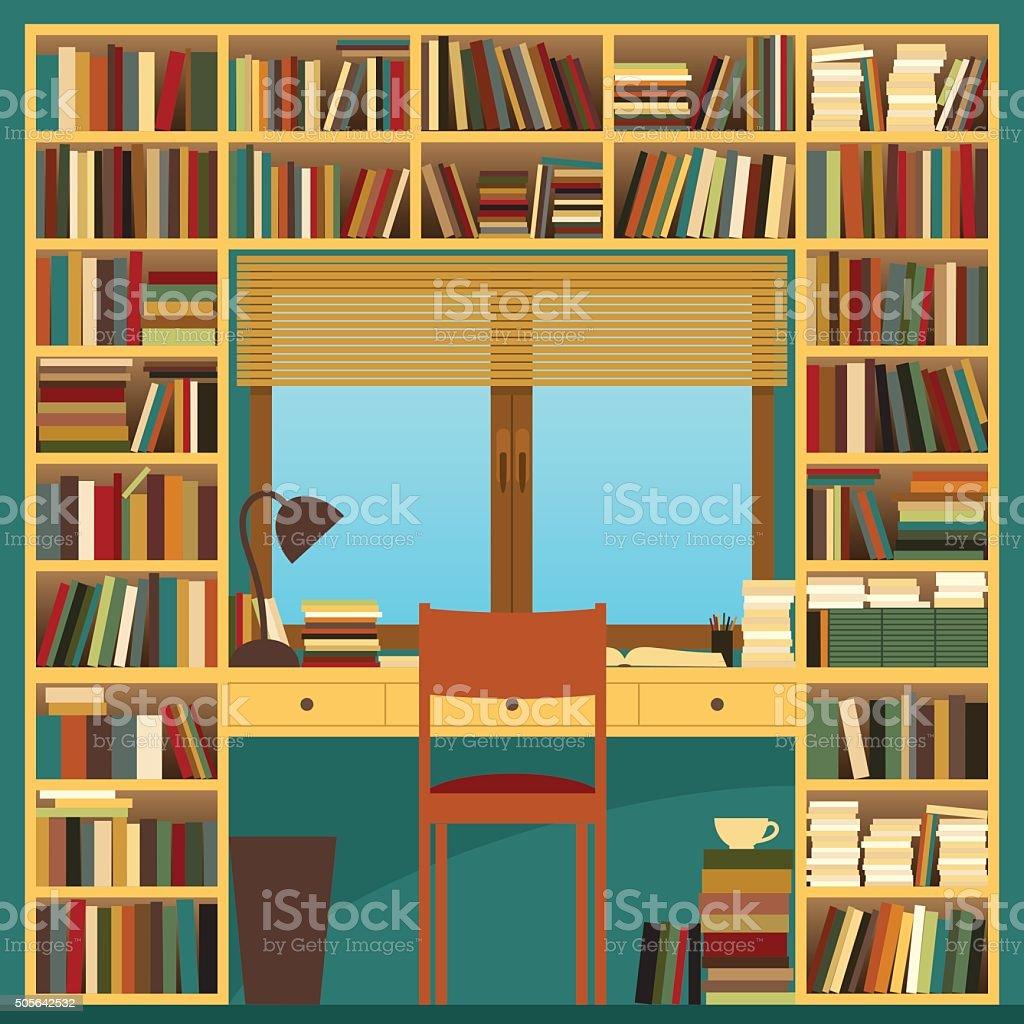 Bücherregal Und Schreibtisch Stock Vektor Art Und Mehr Bilder Von