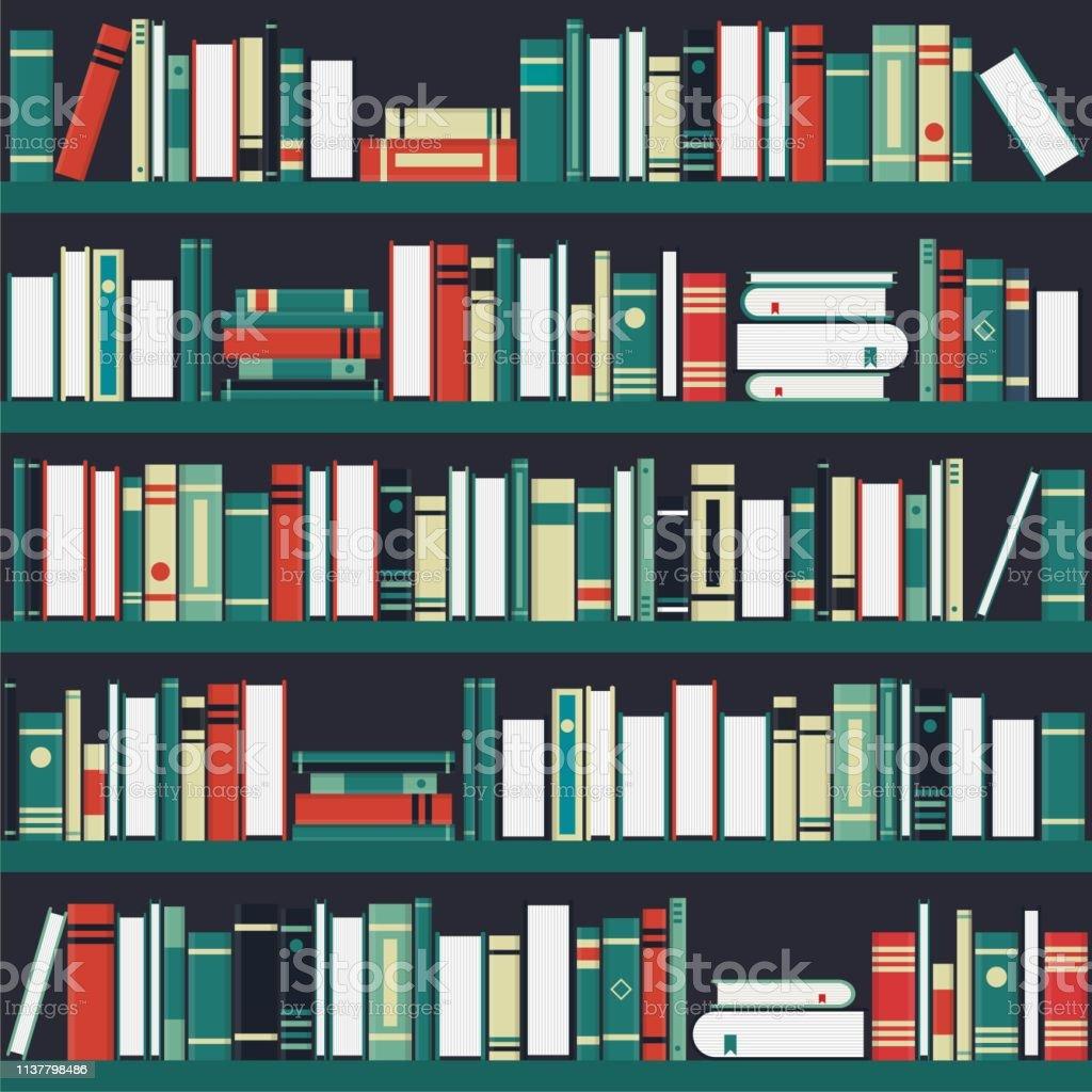 Bookshelf background. Vector illustration in flat design. Vintage...
