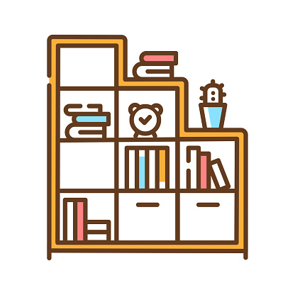 Bookshelf color line icon. Standing furniture with horizontal shelves, often in a cabinet, used to store books. Pictogram for web page, mobile app, promo. UI UX GUI design element.