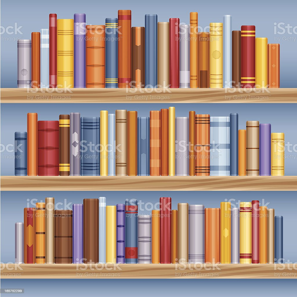 Bookshelf full of books vector art illustration