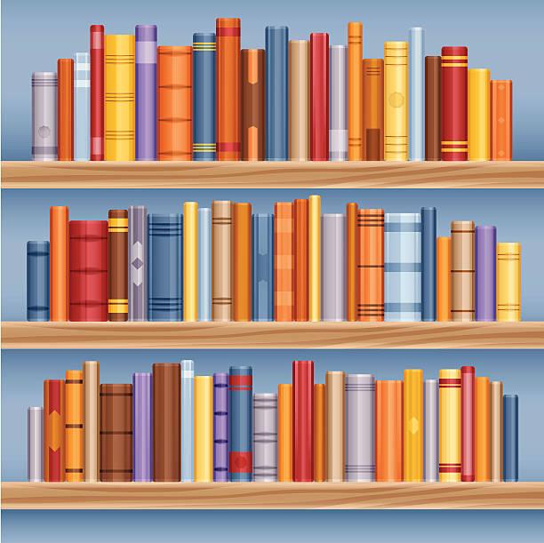 Bookshelf full of books vector art illustration
