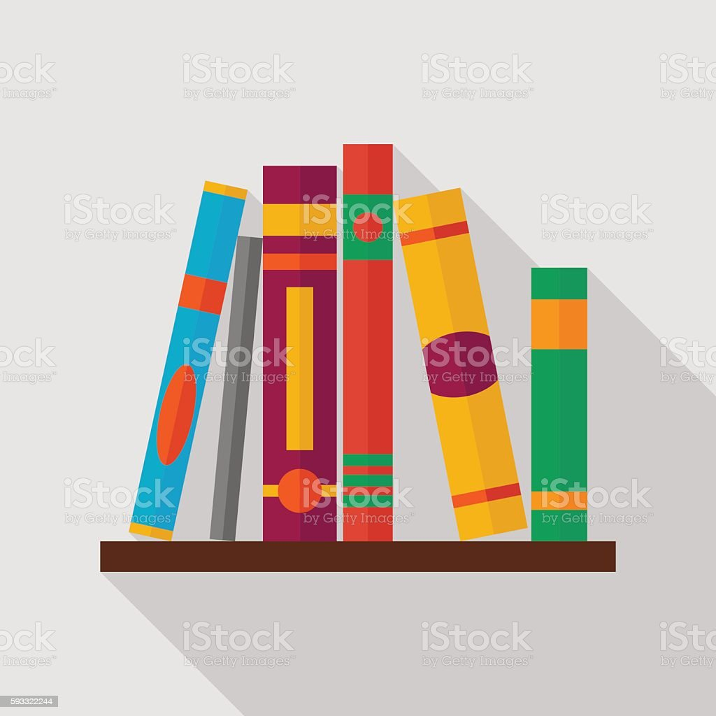 bookshelf icon with long shadow. flat style vector illustration