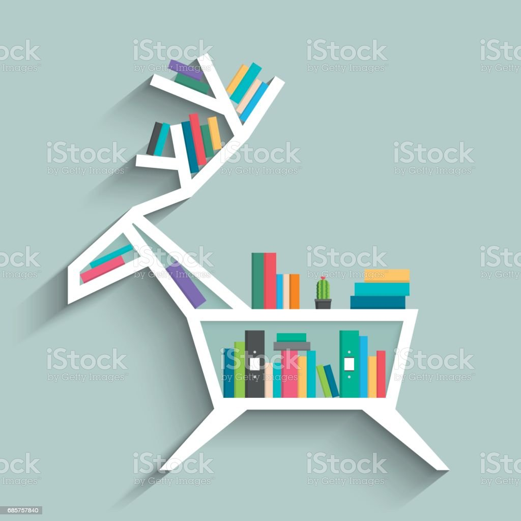 Bookshelf in form of deer with colorful books, clock and cactus on blue pastel color background. Flat design. Vector illustration. bookshelf in form of deer with colorful books clock and cactus on blue pastel color background flat design vector illustration - immagini vettoriali stock e altre immagini di ambientazione interna royalty-free