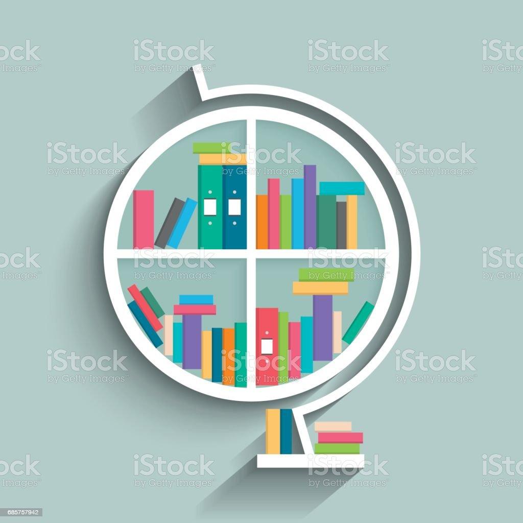 Ilustración de Estantería En Forma De Modelo De Mundo Con Libros ...