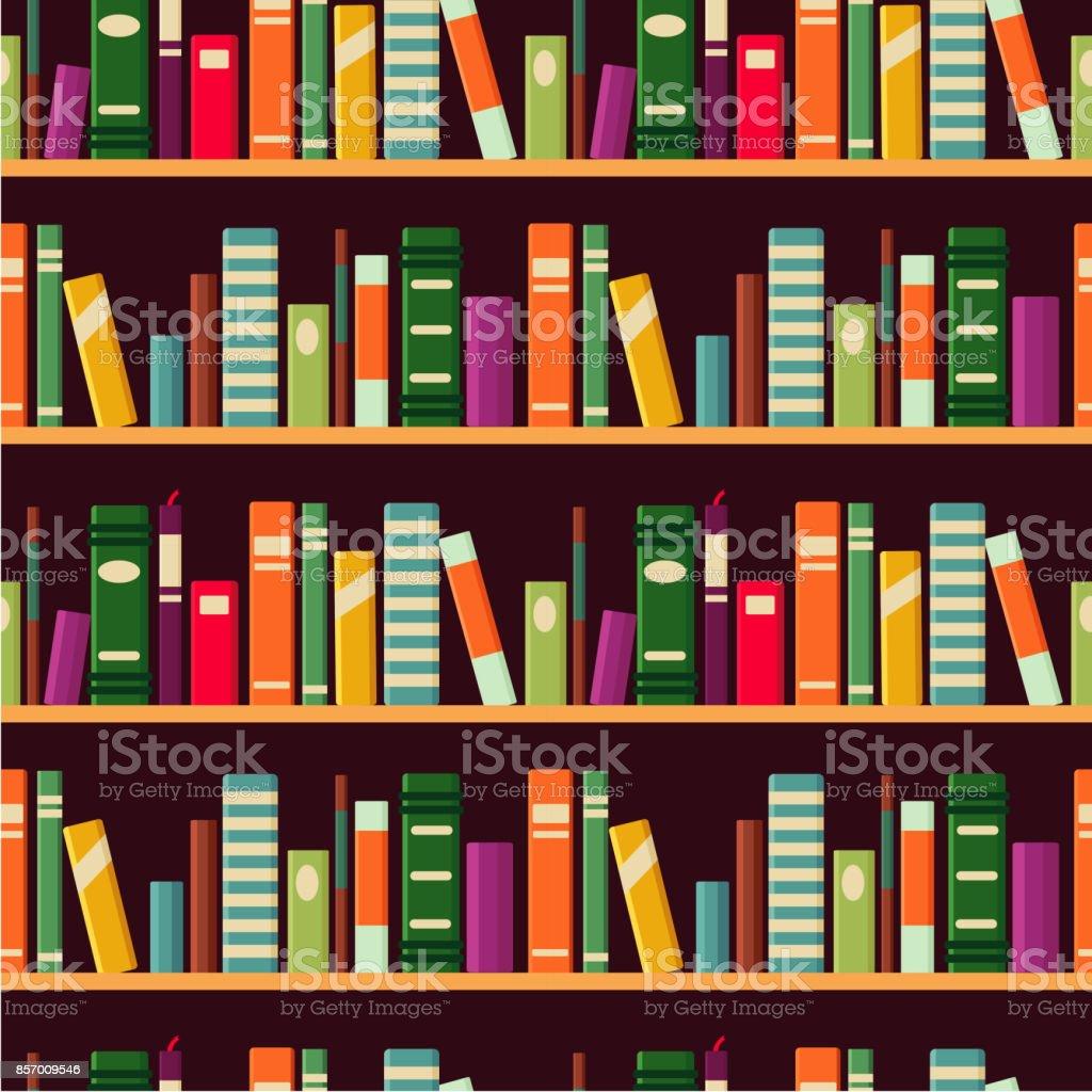Bookshelf. Seamless vector pattern with books. vector art illustration