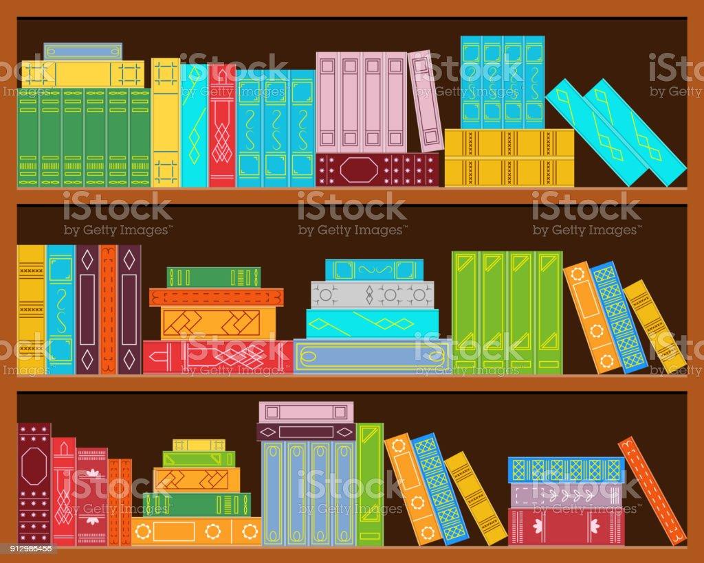 Bookshelf. Set of stacks of books. vector art illustration