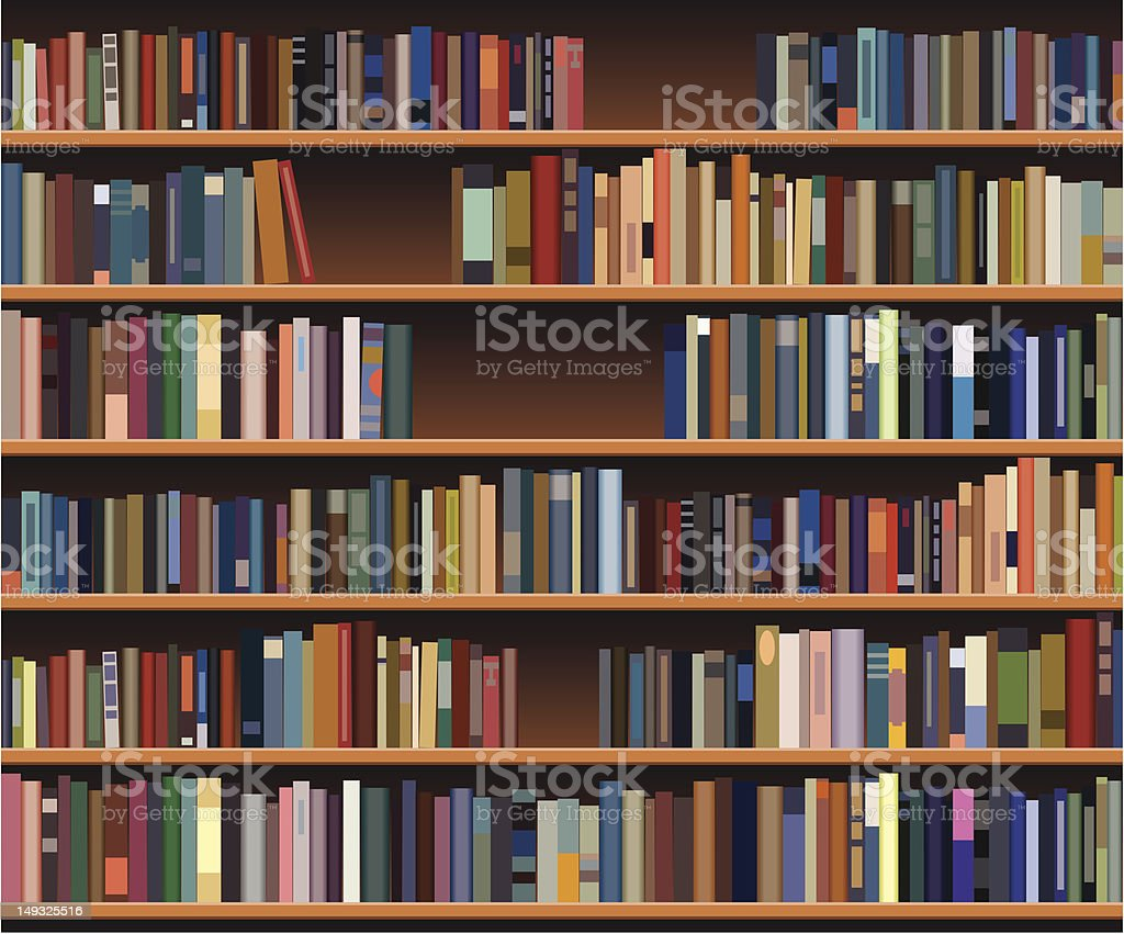 A bookshelf that is filled with a lot of books  vector art illustration