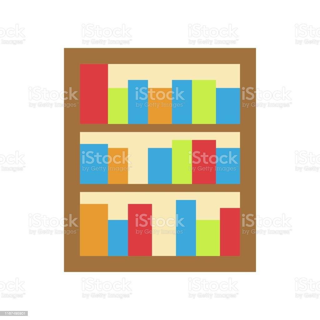Bookshelf vector, Back to school flat design icon