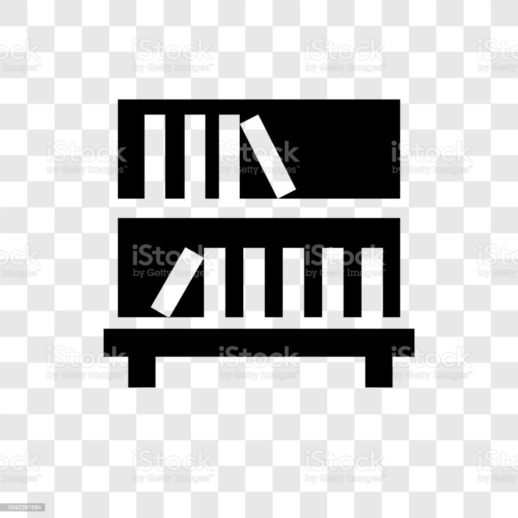 Bookshelf Vector Icon Isolated On Transparent Background Transparency Logo Design Royalty Free