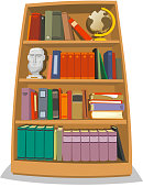 Illustration of a wooden bookshelf which contains many colored books.