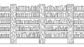 Hand drawn books on bookshelf for background, design element and coloring book page for kids. Vector illustration