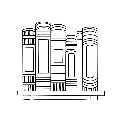 Bookshelf with books. hand drawn outline illustration.