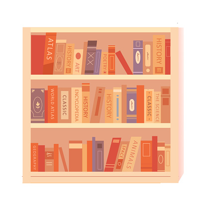 Bookshelf with books on shelves. Interior design background element vector illustration. Modern trendy stand with books on art, history, geography, science. School and university education