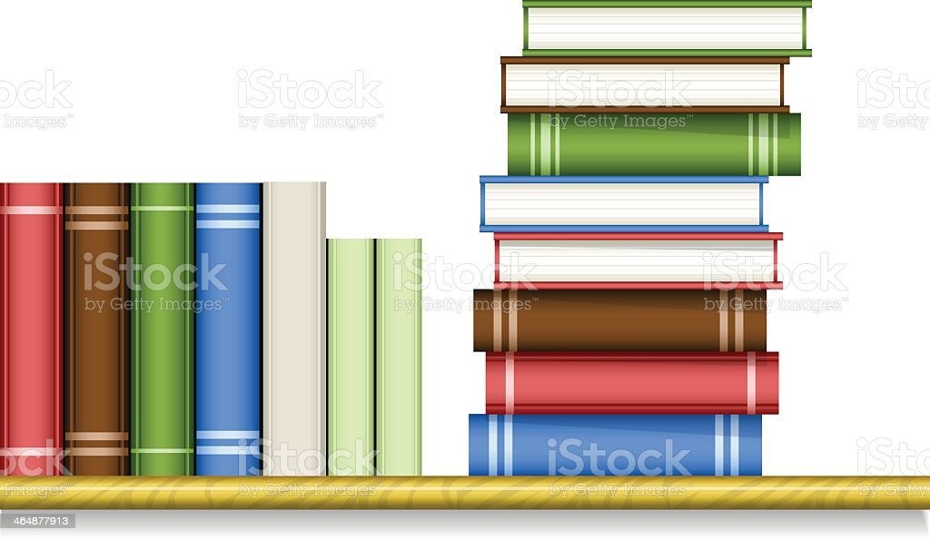 Bookshelf with books stacked vertically and horizontal vector art illustration