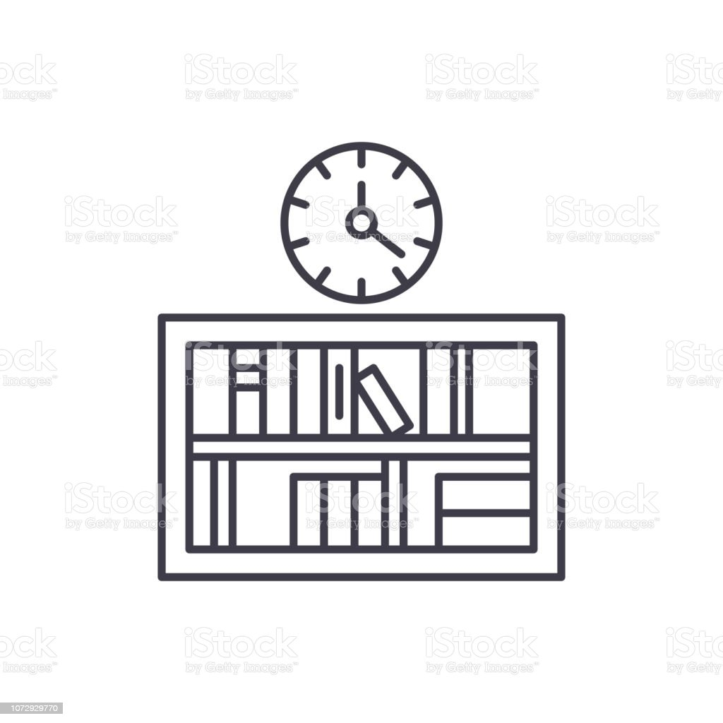 Bookshelf with clock line icon concept. Bookshelf with clock vector...