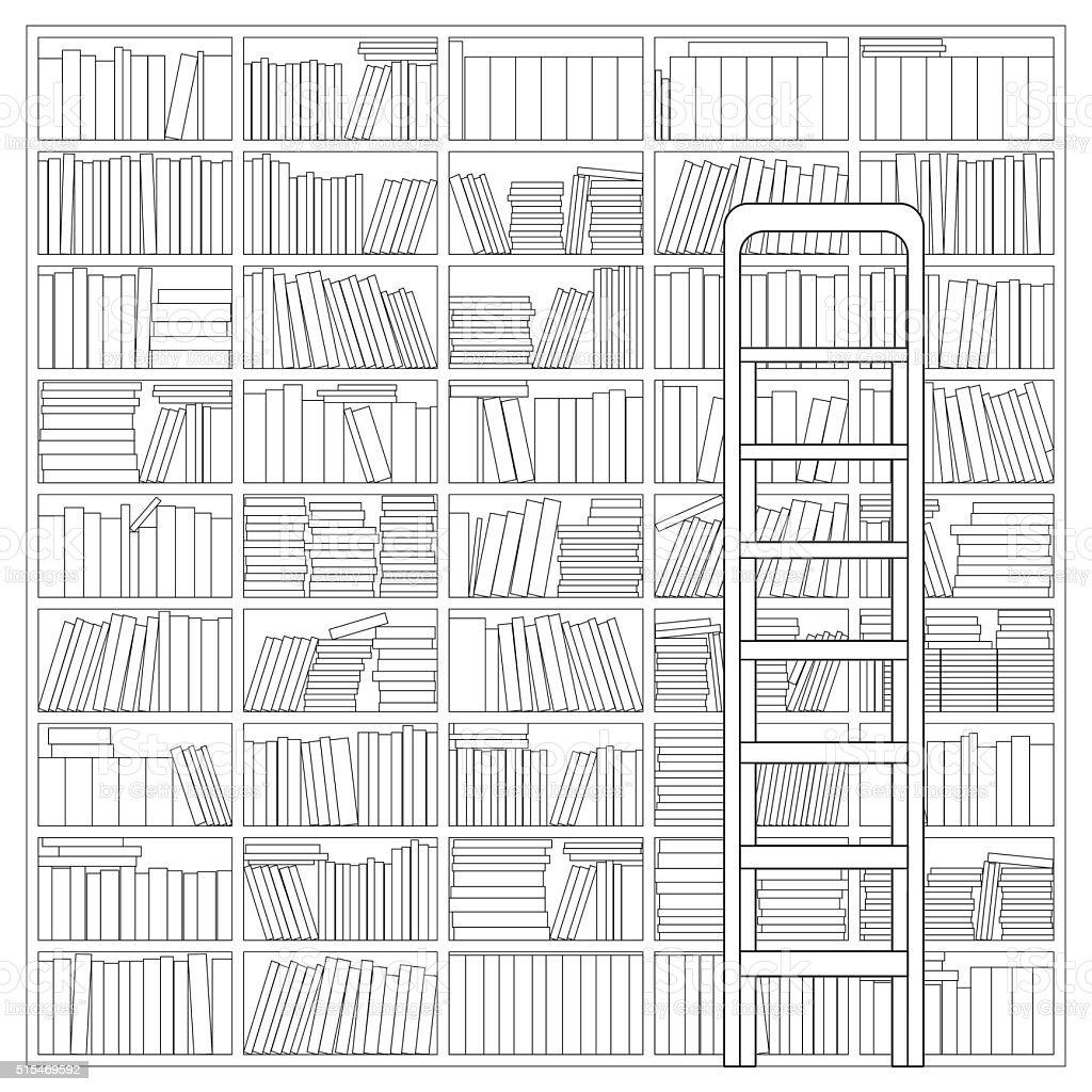 Bookshelf with Ladder vector art illustration