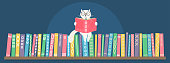 Bookshelf with sitting hand drawn fantasy white cat reading book. Different color books with ornament on shelf on dark blue background.  Vector illustration.