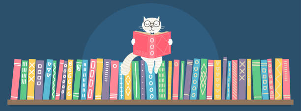 bookshelf with sitting hand drawn fantasy white cat reading book. - library stock illustrations