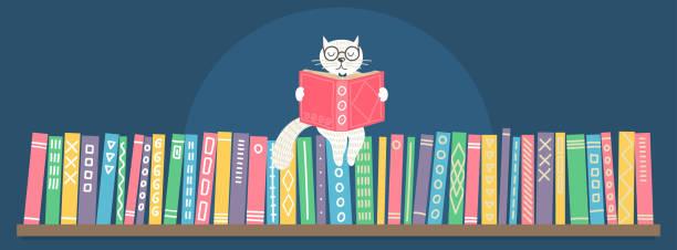 Bookshelf with sitting hand drawn fantasy white cat reading book. vector art illustration
